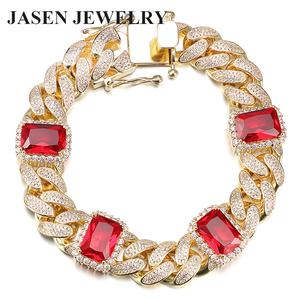 Bracelet Handmade Bracelet New Style Trendy Bracelet Gold Plated Handmade Mens Chain Bracelet With Ruby Stones