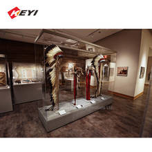 Custom Museum Best Wooden Base And Tempered Glass Case / Museum Display Cabinet