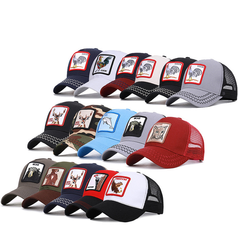 Wholesale Trucker Sport Cap Gorras Cotton Embroidered Mesh Animal Baseball Cap Hats