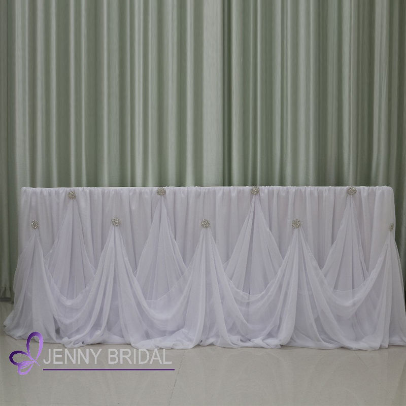 TC106C 96 inch long white beautiful buffet table skirting bridal decoration chiffon party cinderella table skirt birthday