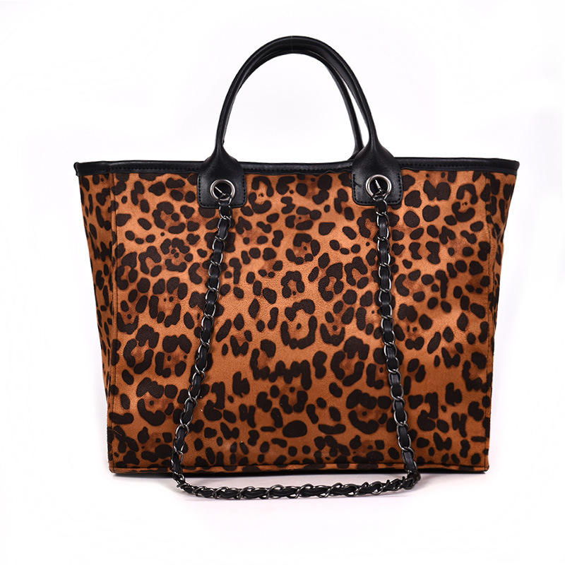 Women Fashion Brown And Black Leopard Handbag Large Cheetah Purse Leopard Tote Bag