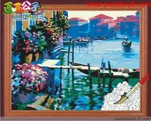 wholesales diy paint by numbers city landscape painting yiwu art suppliers oil painting beginner kit