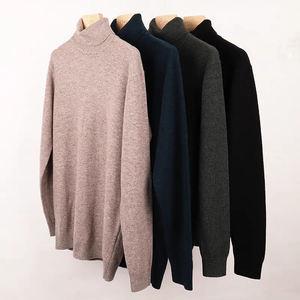 Latest Design Pure Color Turtleneck Mens Cashmere Sweater