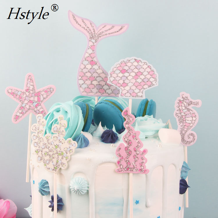 Mermaid Cupcake Topper Picks Cake Decorations Supplies for Baby Shower Birthday Party Favors Seashell, Seahorse, Starfish PQ334