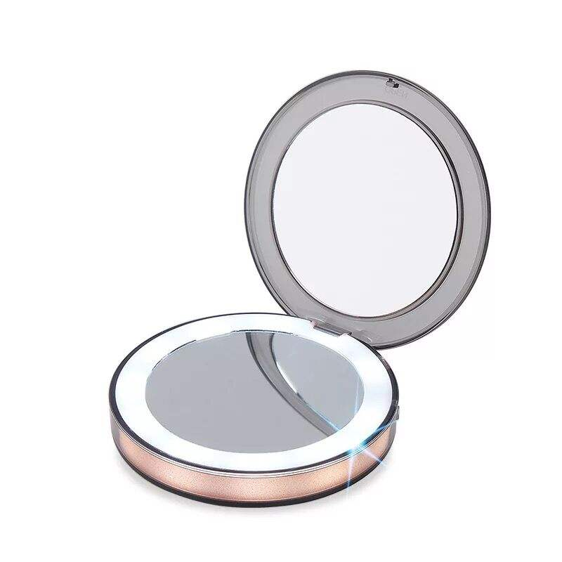 2019 Rose Gold/Pink/Red/White/Green Color Plastic Pocket Small Hand Rechargeable Compact Folding Led Light Mirror For Cosmetic