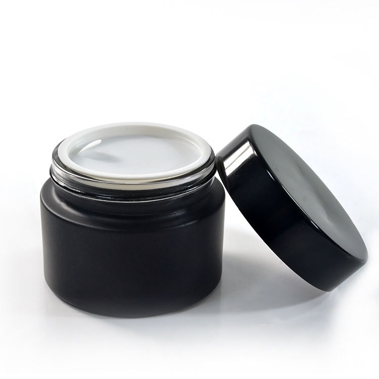 Custom glass container 15g 30g 50g plastic lid matt black cosmetic jar for skin cream