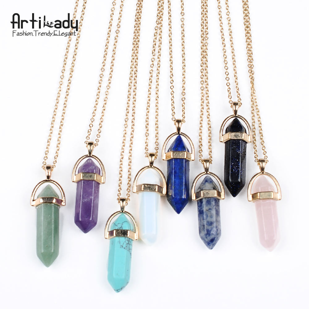 Artilady 8 color option natural stone pendant gold plated fashion jewelry 2017 necklace