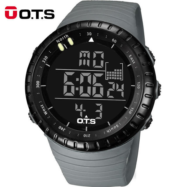 OTS 7005G Men Digital Watch Black Clock Sports Professional Waterproof Large Dial LED Hours Outdoor Military Luminous Watch
