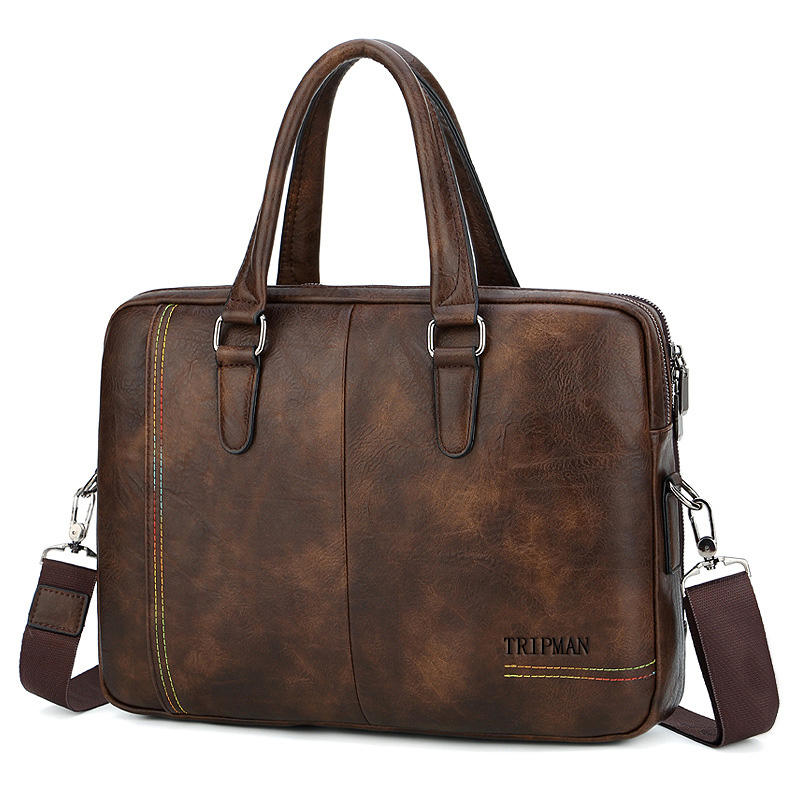 TRIPMAN Mens Briefcase Fashion PU Leather Business Handbag Large Capacity Tote Laptop Tote Shoulder Bags