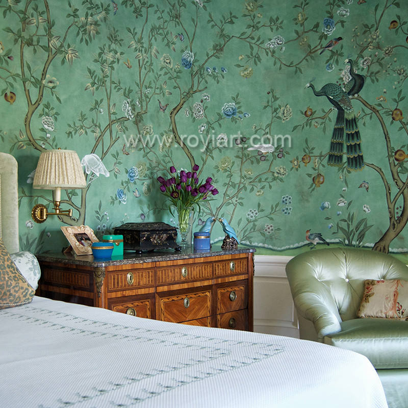 Chinoiserie peacock embroidered wallpaper for household by ROYI ART