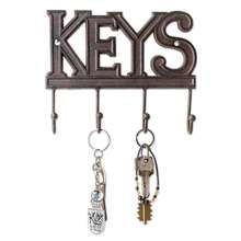 Rustic Western Cast Iron Wall Mount Key Hanger Hook Decorative Key Organizer Rack with 4 Hooks