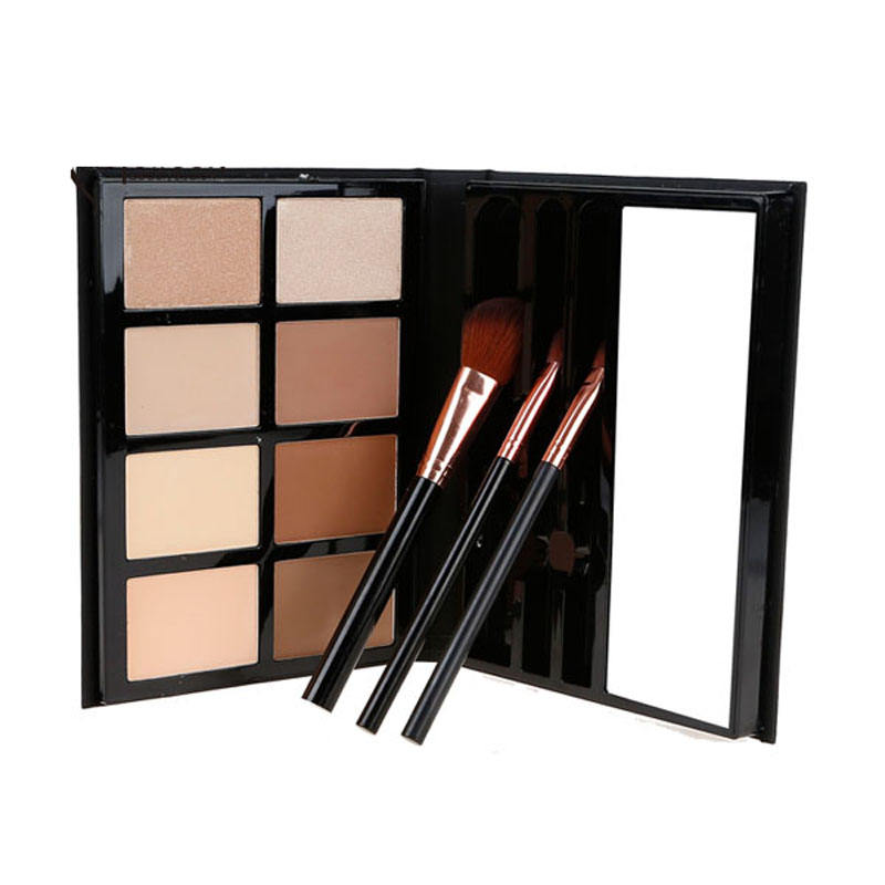 Stock ! Professional 8 Colour Highlighter Bronzer High Quality PU Leather Fondation Contour