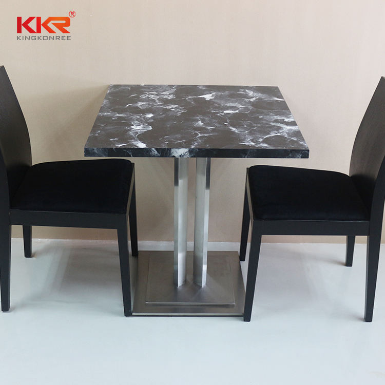 KKR artificial stone dining table resin marble top dining table with cast iron leg
