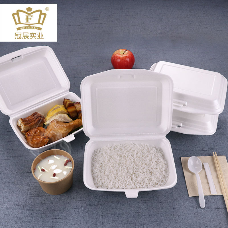 900ml Disposable foam lunch box ps material single compartment Foam Snap-It Hinged Lid food Container foam take out box