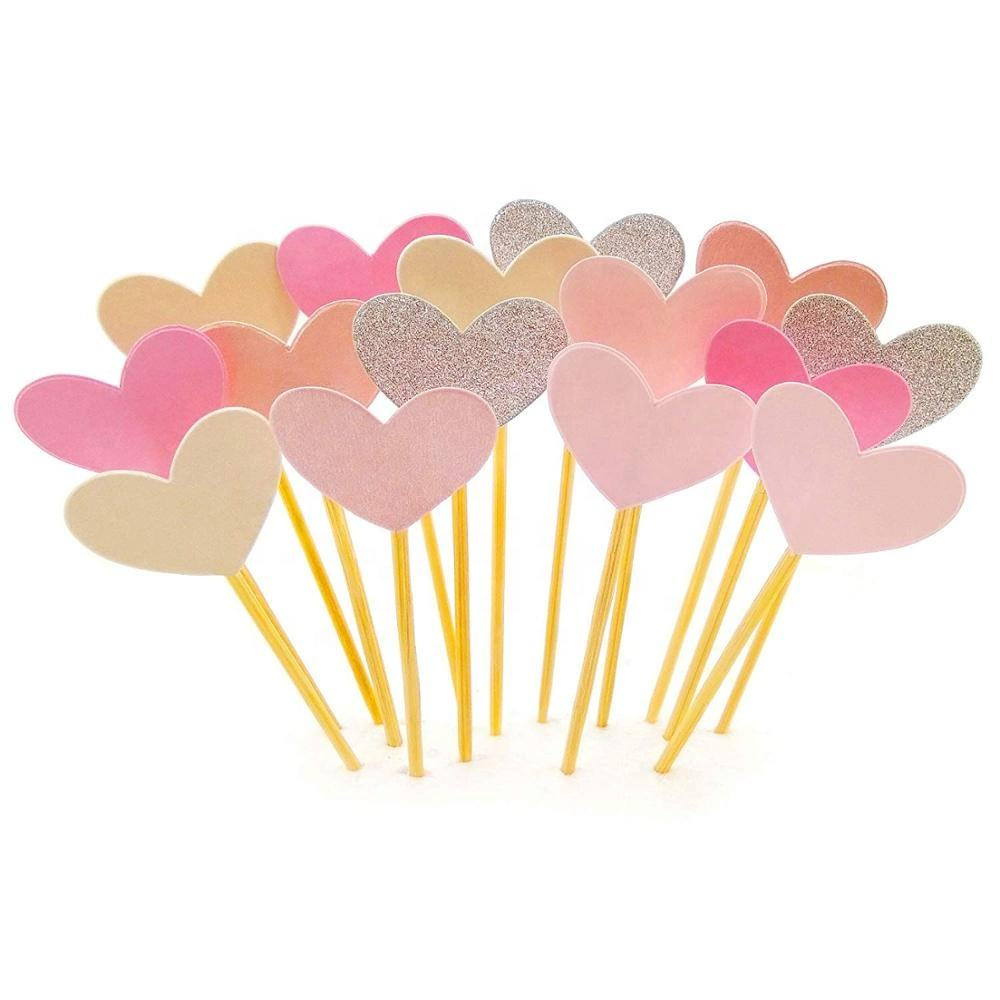 15 pcs Heart Cupcake Toppers Set Pink Heart DIY Glitter Mini Wedding Cake Decorations Picks Wedding Party Accessories