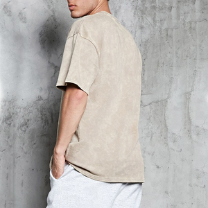 Men Blank Plain Acid Wash Distressed Knit Tee Oversized T Shirt