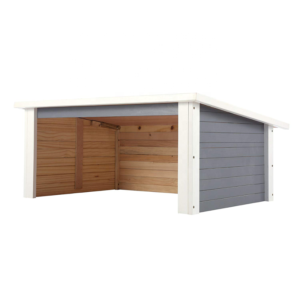 Solid Wood Garage Carport Designs For Lawn Robotic Mower with Opening Roof