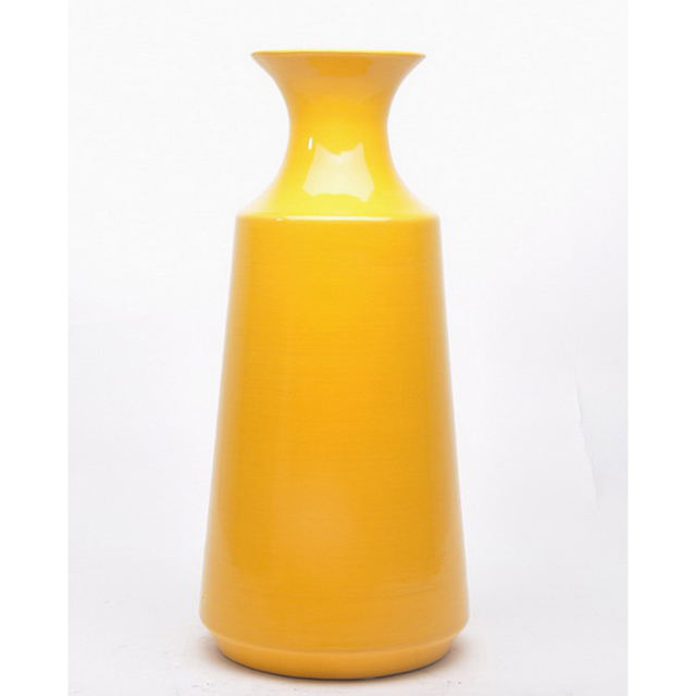 Hand craft fine yellow color ceramic flower vases home decoration pieces vase for table