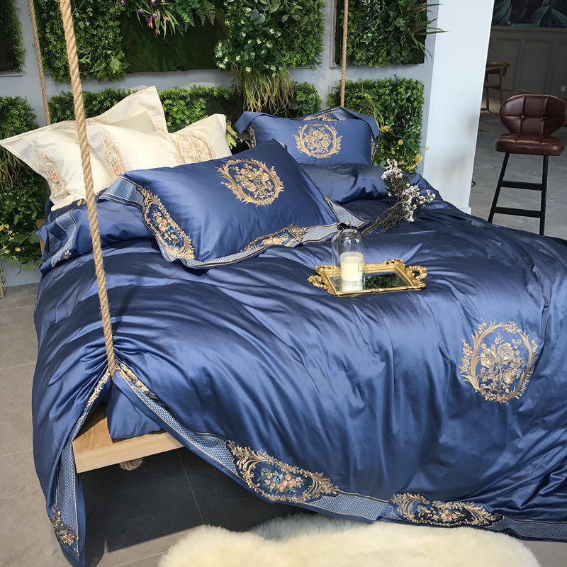 wholesale 100% egyptian cotton 100s sateen luxury embroidery duvet cover bed linen bedding set