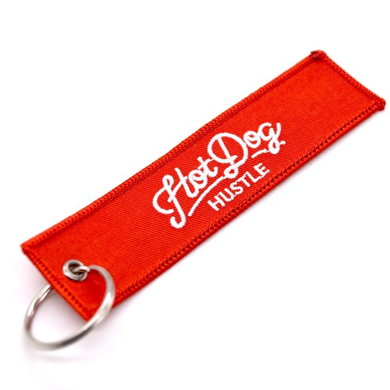 Custom color free sample woven round ring company logo slim key chain