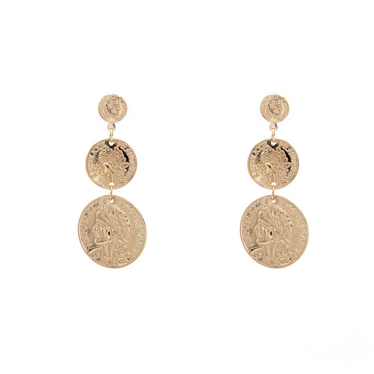 Fashion Delicate Gold Coin Drop Earrings Geometric Figure Cameo Dangle Personalized Alloy Stud Earrings Jewelry for Women