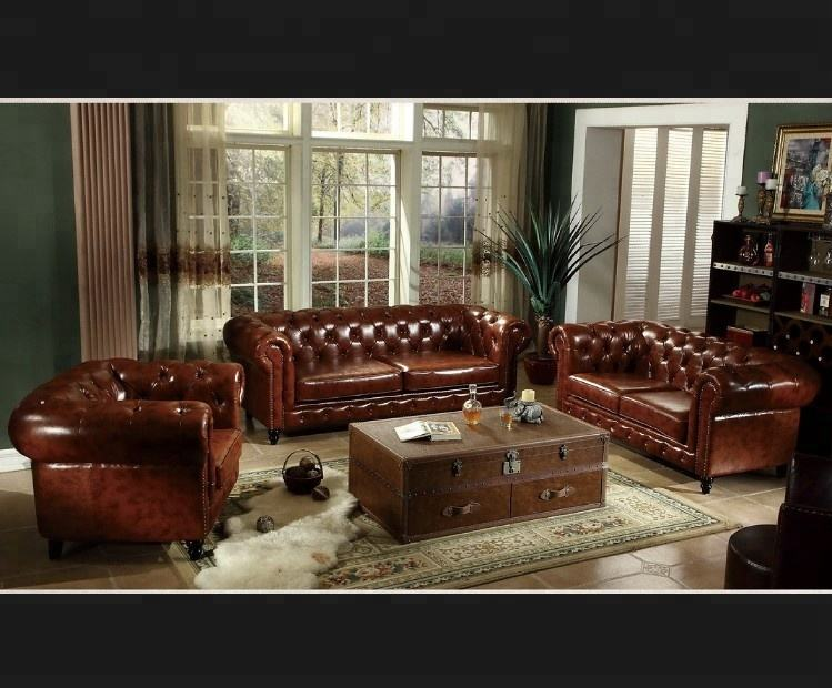 european american modern loft furniture leather home living room chesterfield sofa