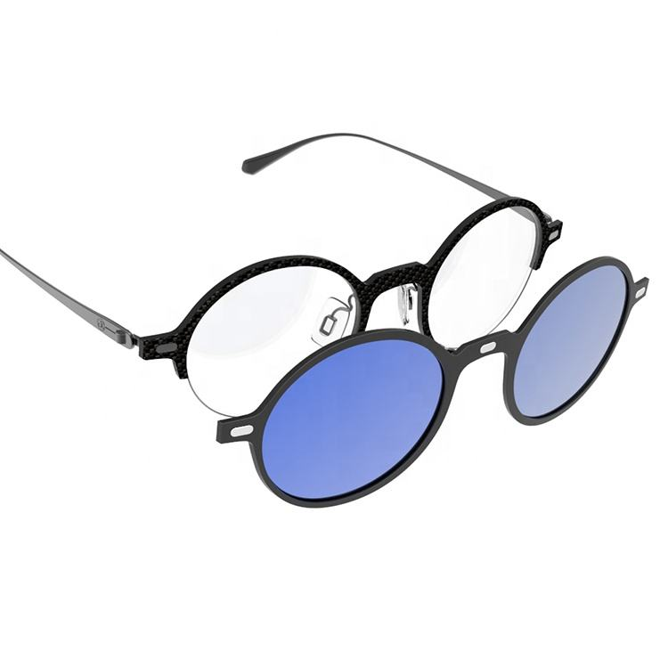 2020 Unique Design Optical Carbon Fiber Eyeglass Frames With Clip-On Lens For Unisex GK666