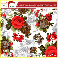100% Polyester microfiber brushed bed sheet fabric home textile polyester fabric printed flower