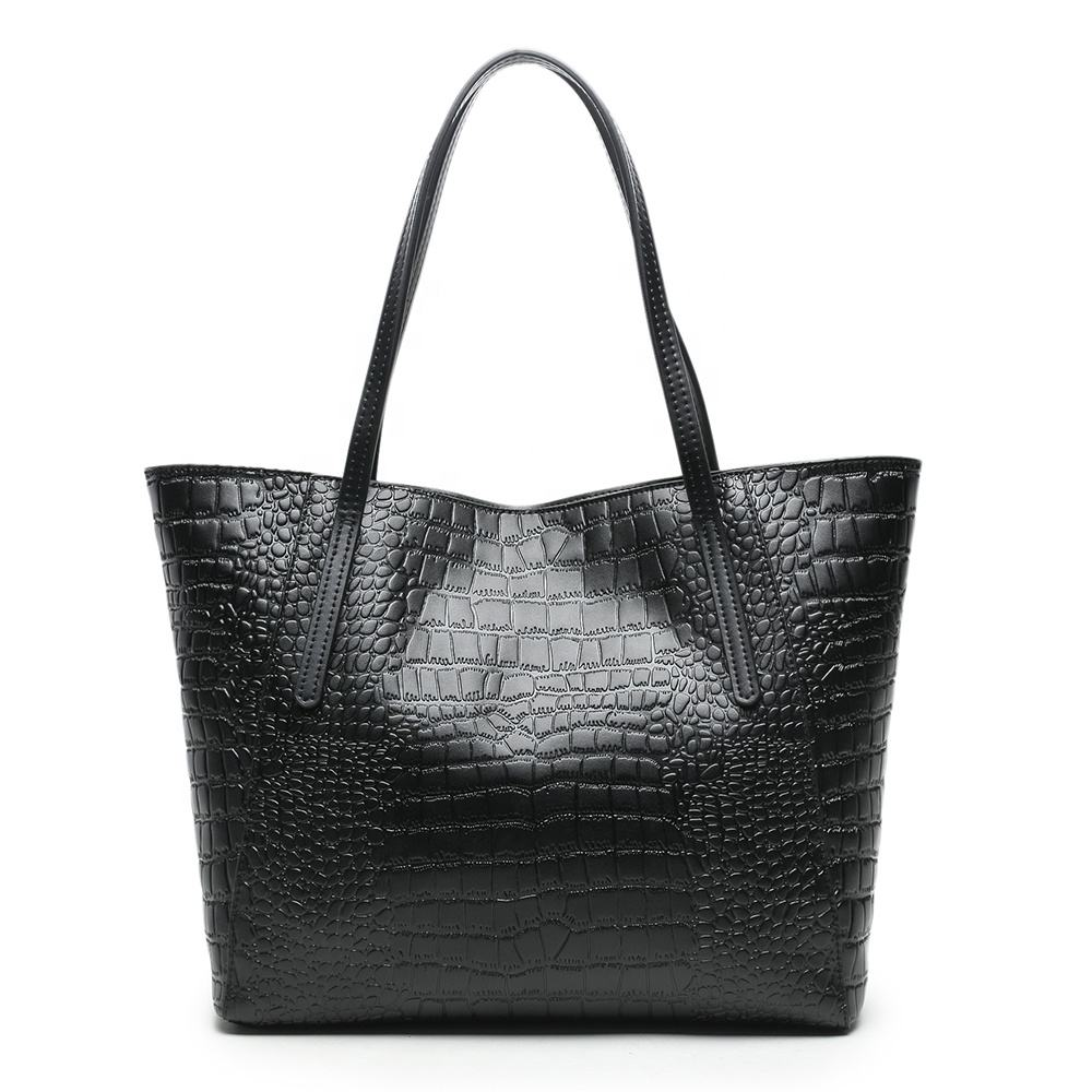 Famous Brand Embossed Custom Design Hand bags Women Crocodile Pattern Cow Leather Handbag