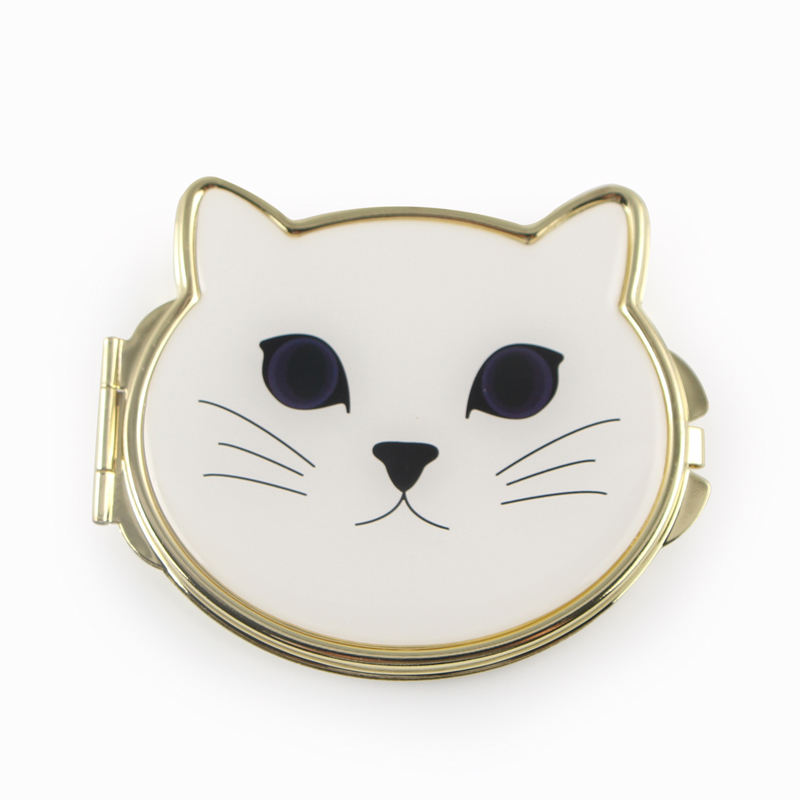 Cute White Cat Metal 금 두 번 측 Compact Mirror