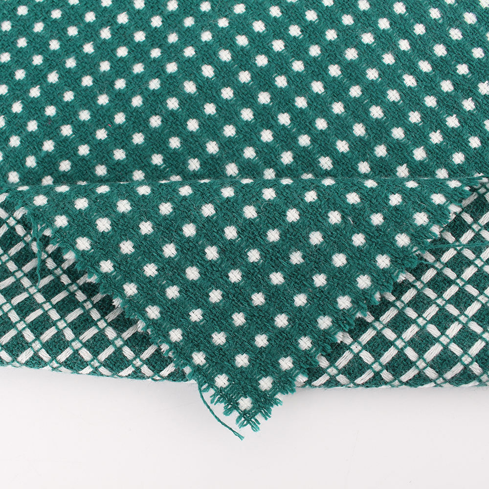 중국어 공장 customized 100% 아크릴 white green tweed fabric