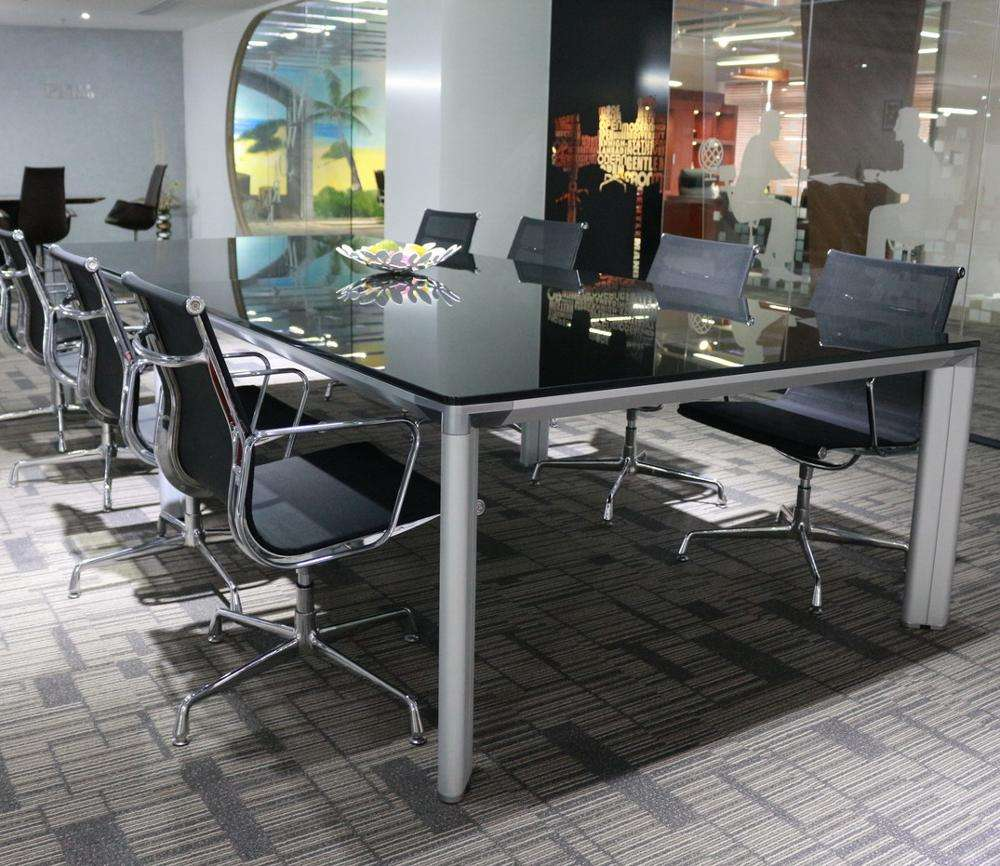 Modern office furniture black tempered Glass conference table with metal leg