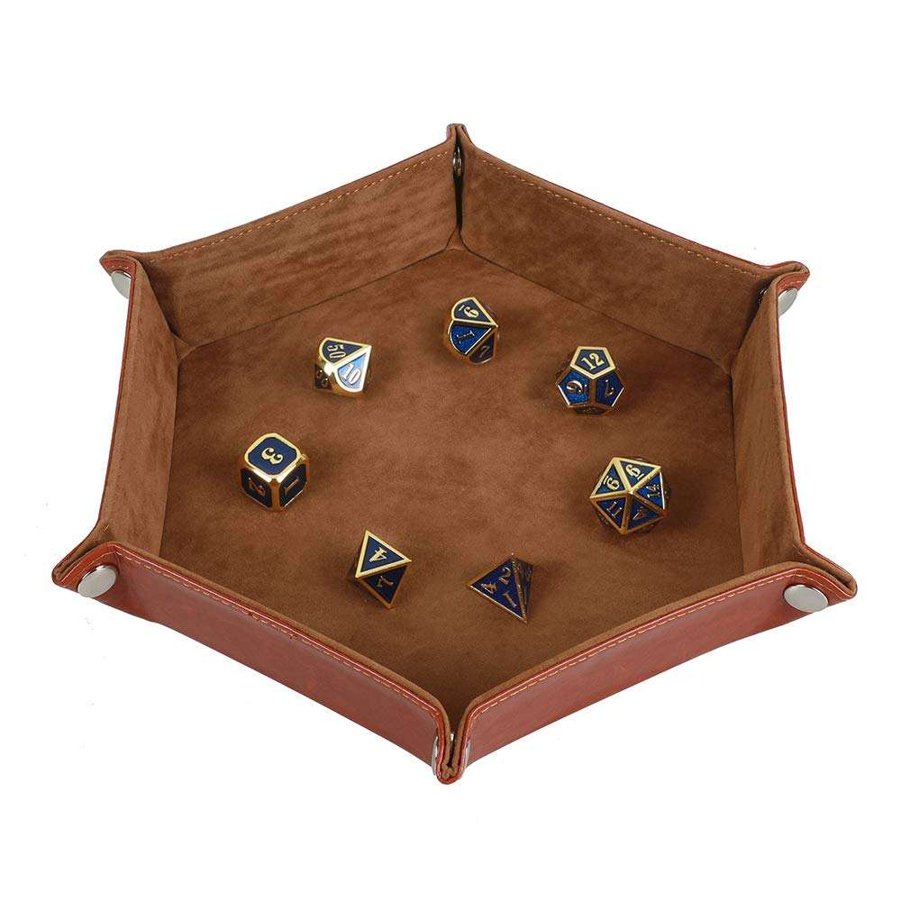 Hot Selling Dice Holder PU Leather Collapsible Velvet Dice Tray for RPG, DND and Other Table Games