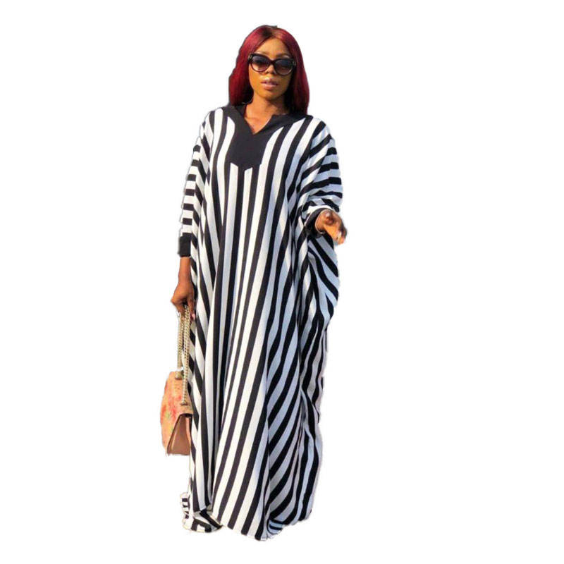 90428-MX43 black white striped loose maxi womens dresses