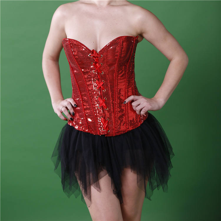 Factory Price Snake Hot Women Sexy Photo Corsets Bustiers Dance Sexy Red Sequin Mature Corset