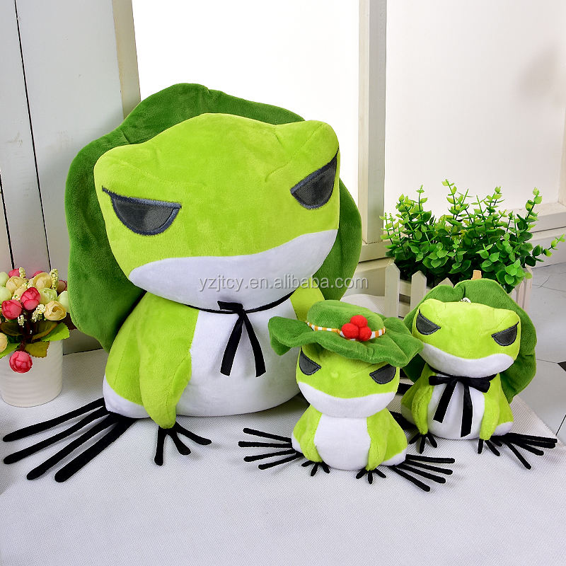 2018 Hot sale Mobile Game Traveling Frog Stuffed Plush Toys Custom latest Cute Green Frog Game Plush toys Funny toys for kids