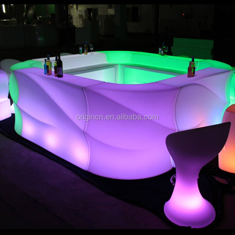 Square shape bistro lighting table furniture beautiful illuminated led bar counter