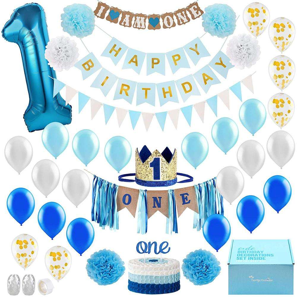 1st Birthday Boy Decorations Blue Happy Birthday Banner for One Bday Decor One Year Old Birthday Boy 1 Year Party Supplies