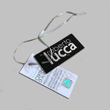 high quality printing paper hang tag label with hologram sticker and barcode