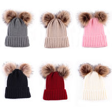 MY Miyar Double Fur Pom Hat Beanies Cap Crochet Children Knitted Hats Cute Baby Kids Girl Boy Autumn Winter Knit Hat