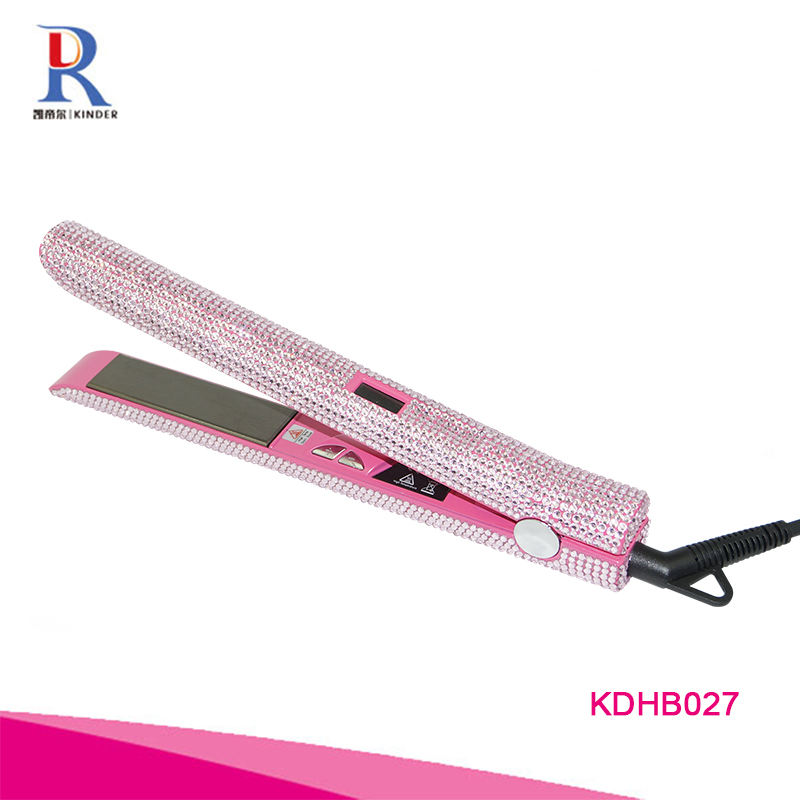 High quality factory price private label flat iron rhinestone titanium hair straigntener with temperature control