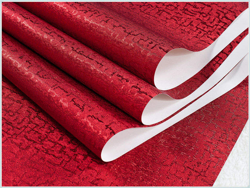 Beautiful Vinyl wallpaper price of wallpaper design for home or hotel decoration manufacturing murals red Wallpaper GR08