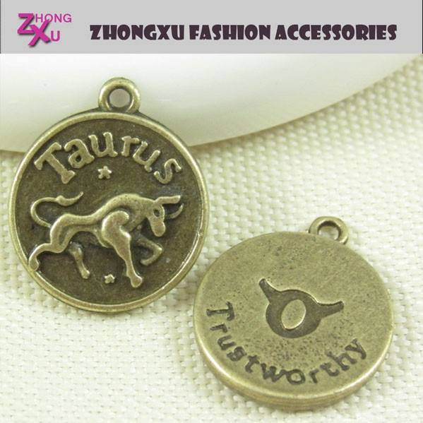 custom silver and gold plated the zodiac symbol charm