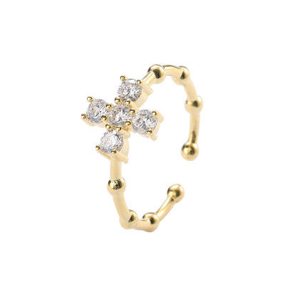 New Minimalist Bamboo Pave CZ Cross Charm Ring 925 Sterling Silver Open Cuff 18k Gold Ring Jewelry for Birthday Wedding