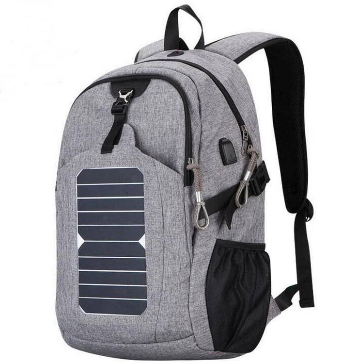 Large capacity waterproof solar laptop school backpack with usb charger
