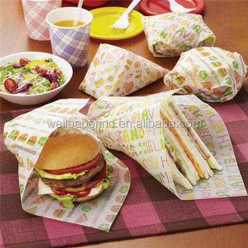 Interfolded Greaseproof burger food wrapping deli wrap paper