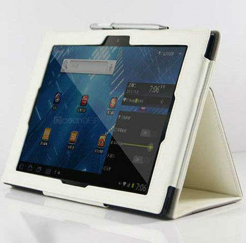 Fresh pure white pen leather flip case stand for sony xperia tablet z case fancy pu stand case new product for 2013