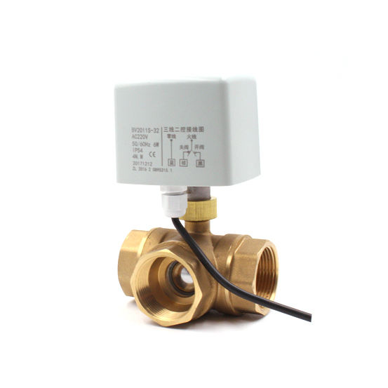 3 way electric valve FCU DN15 DN20 DN25 DN32 DN40 DN50 Electric ball valve for HVAC systems FCU three way motorized valve