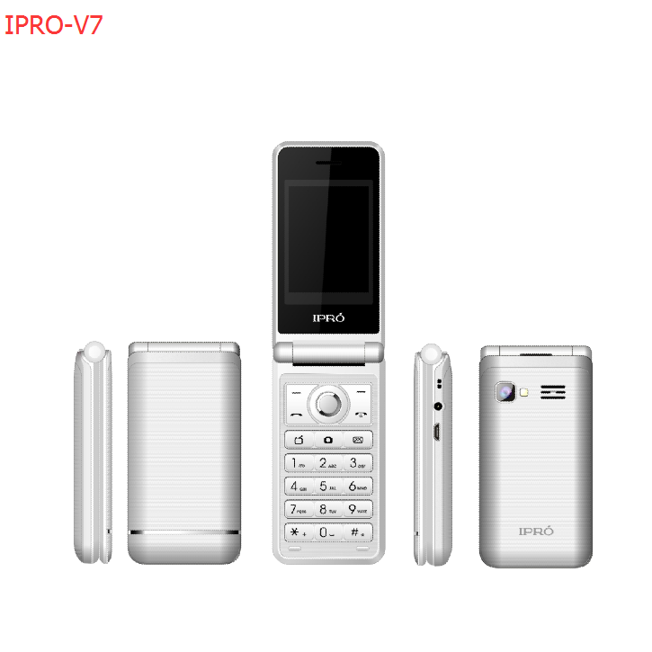 IPRO V7 2G GSM 2.4 Inch CE/FCC Phone 1000 Mah Battery Flip Phone With Facebook