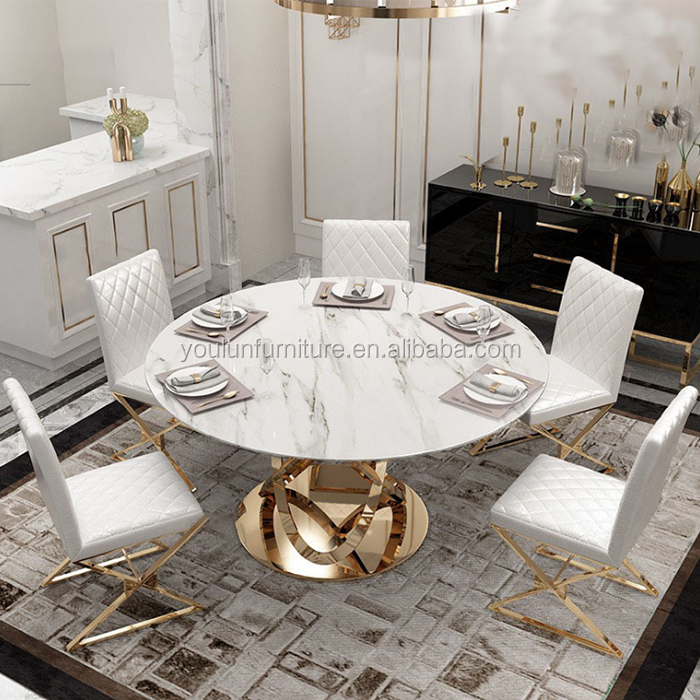 Stainless Steel Base Gold Plated Round Dining White Marble Table